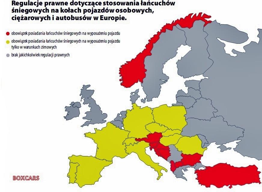 łańcuchy śniegowe w europie